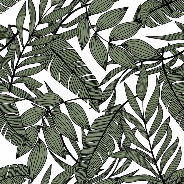 Patrón transparente abstracto brillante con coloridas hojas tropicales y plantas en la luz Vector Premium