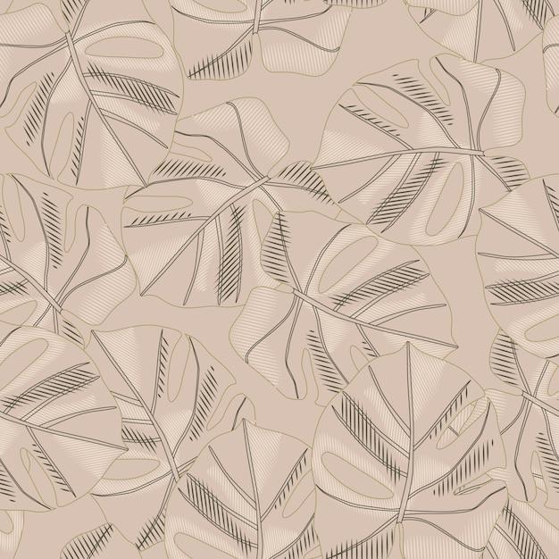 Patrón transparente abstracto paleta beige con adorno monstera. Vector Premium