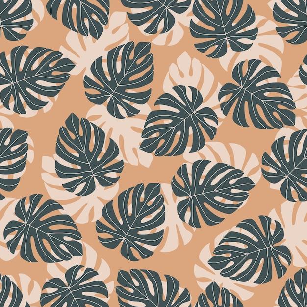 Patrón transparente aleatorio abstracto con doodle siluetas de monstera azul marino. fondo naranja pastel. Vector Premium