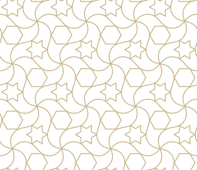 Patrón transparente árabe fondo abstracto geométrico islámico, papel tapiz asiático damasco. textura repetitiva de oro marroquí antiguo Vector Premium