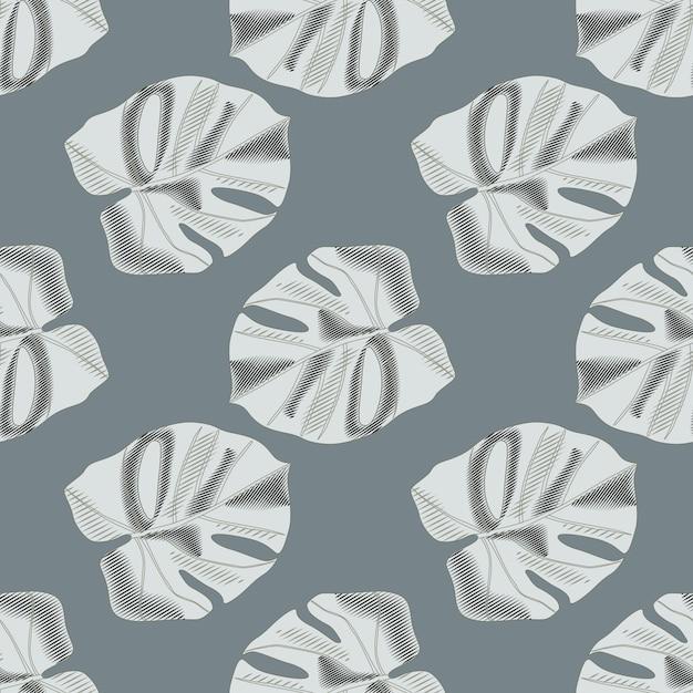 Patrón transparente botánico minimalista con adorno de hoja de monstera. fondo azul marino pálido. follaje de palma gris. Vector Premium