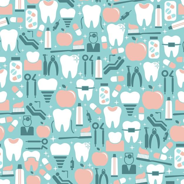 Patrón transparente de cuidado dental color pastel vector gratuito
