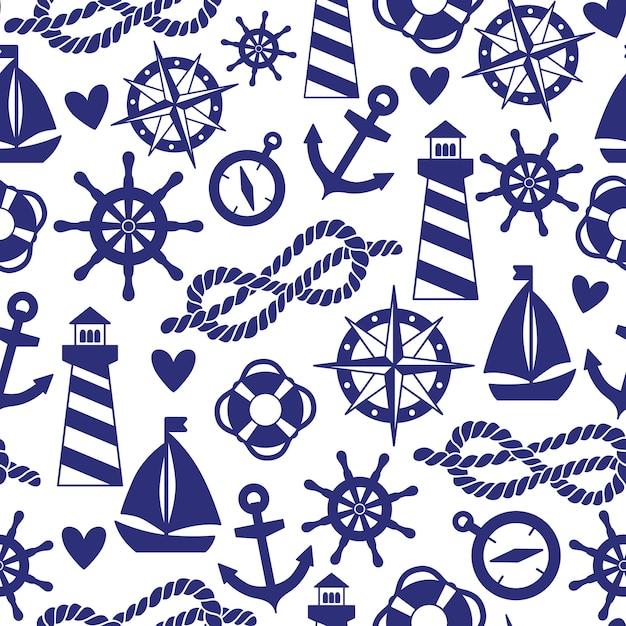 Patrón transparente con elementos del mar: faros, barcos, anclas. se puede utilizar para fondos de pantalla, fondos de páginas web. Vector Premium