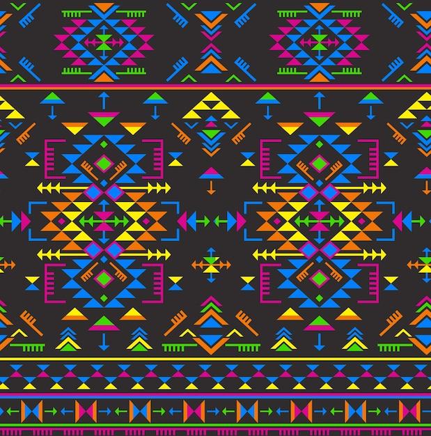 Patrón transparente étnico colorido con formas geométricas Vector Premium
