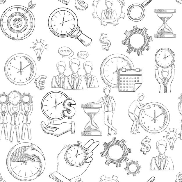 Patrón transparente de gestión de tiempo con elementos de estrategia de planificación de croquis vector gratuito