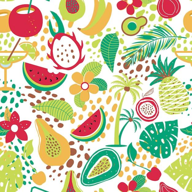 Patrón transparente hawaiano con frutas tropicales y flores. Vector Premium