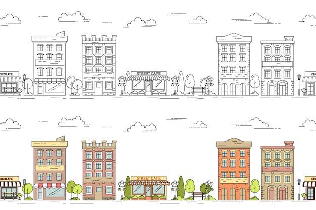 Patrón transparente de ilustración de vector de línea de ciudad con hou de apartamento de varios pisos vintage Vector Premium