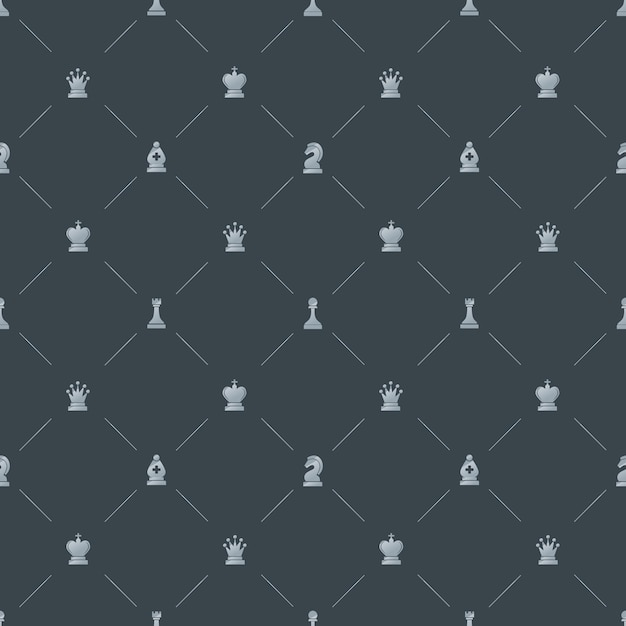 Patrón transparente de lujo gris con símbolos de ajedrez Vector Premium