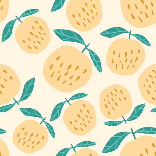 Patrón transparente de manzanas amarillas. linda manzana dulce en estilo dibujado a mano. Vector Premium