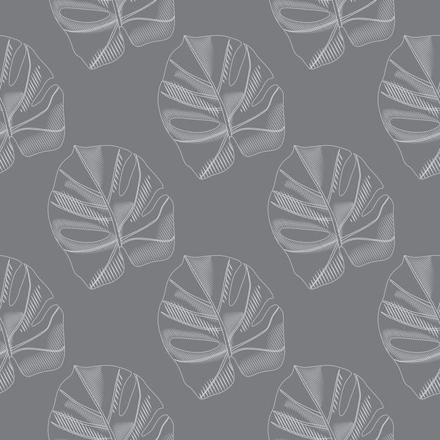 Patrón transparente pálido con siluetas de hojas de monstera doodle. siluetas de follaje botánico simple. Vector Premium