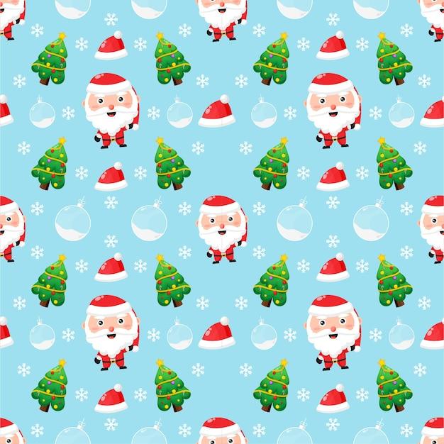 Patrón transparente con temática navideña. lindo papá noel y un árbol de navidad Vector Premium