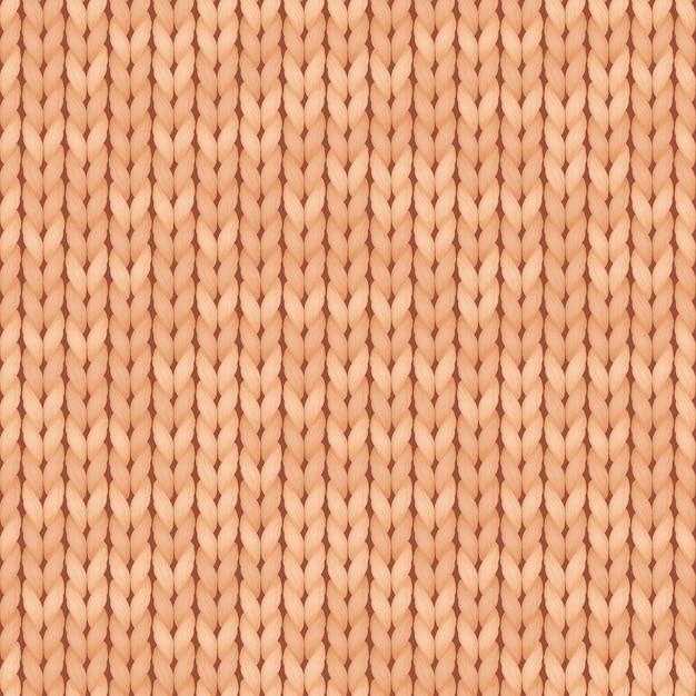 Patrón transparente de textura de punto simple realista beige. patrón de punto sin costuras. paño de lana. Vector Premium