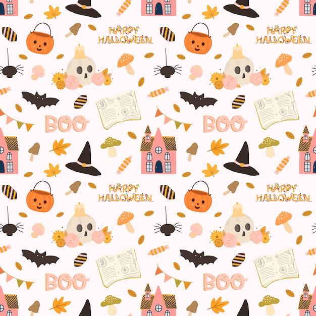 Patrón transparente de vector colorido para halloween en estilo dibujado a mano. Vector Premium