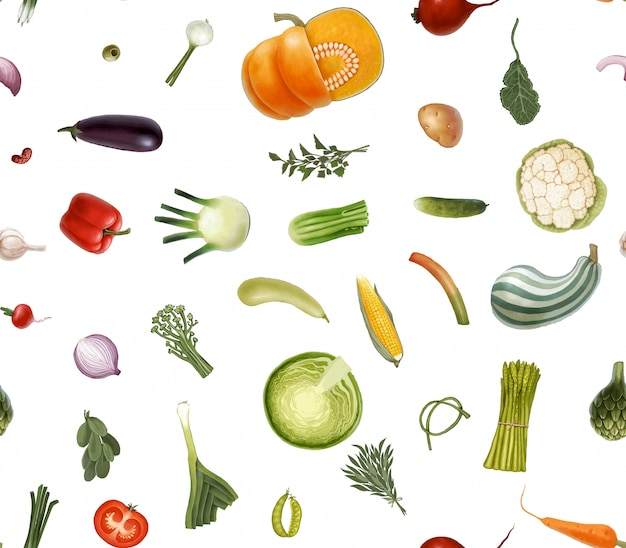 Patrón transparente de vector dibujado a mano de verduras Vector Premium