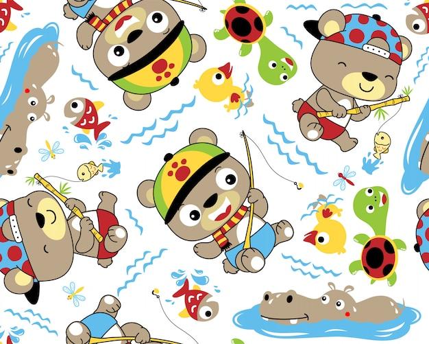 Patrón transparente de vector de dibujos animados de animales de pesca lindo Vector Premium