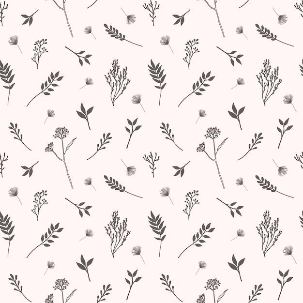 Patrón transparente de vector con flores, hierbas y elementos botánicos en estilo dibujado a mano Vector Premium