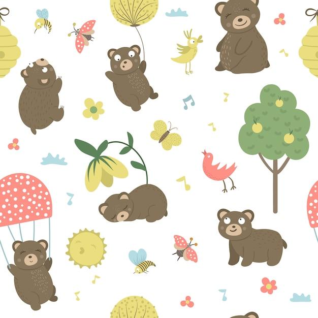 Patrón transparente de vector de osos planos dibujados a mano de estilo de dibujos animados en diferentes poses. repite espacio de escenas divertidas con teddy. linda ilustración de animales del bosque para imprimir Vector Premium