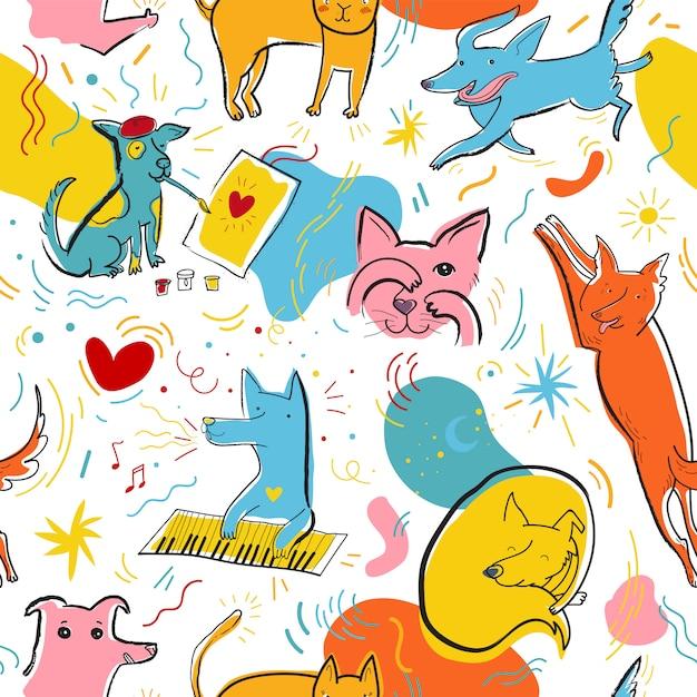Patrón transparente de vector con perros y gatos de color lindo en diferentes poses y emociones Vector Premium