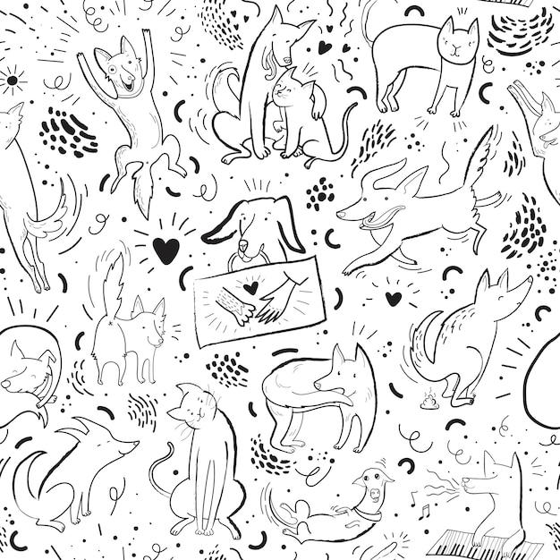 Patrón transparente de vector con perros y gatos de contorno en diferentes poses y emociones Vector Premium