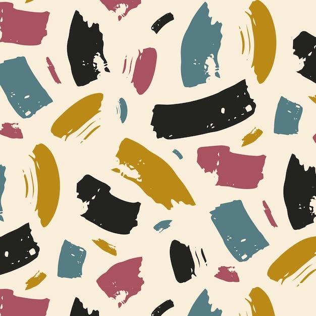 Patrón de trazo de pincel colorido abstracto vector gratuito