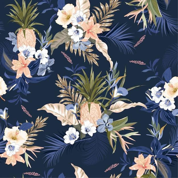 Sin patrón tropical, coloridas plantas exóticas y follaje, hojas de monstera, palmeras. Vector Premium