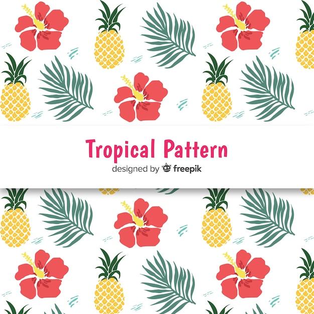 Patrón tropical colorido dibujado a mano vector gratuito