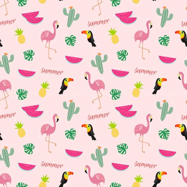 Patrón tropical sin fisuras con flamencos, tucanes, cactus y frutas tropicales. Vector Premium