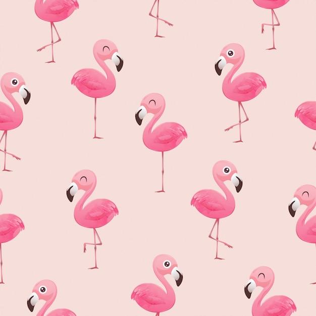 Patrón tropical hermoso vector inconsútil con flamencos rosados Vector Premium