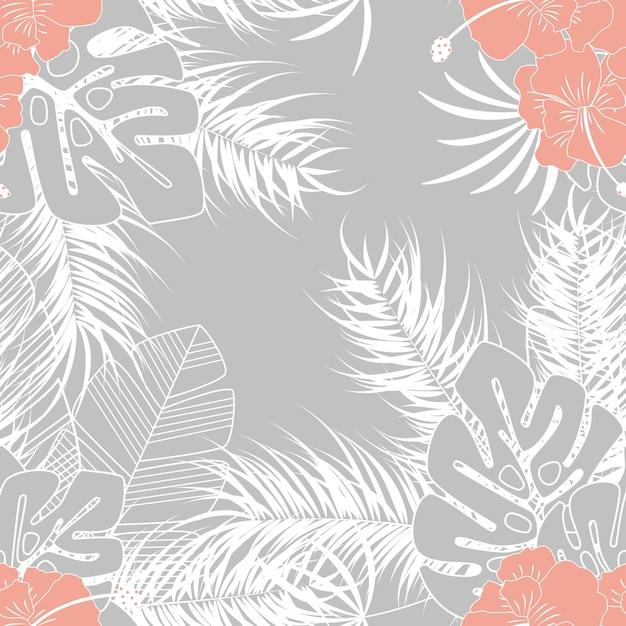 Patrón tropical transparente de verano con hojas de palma monstera y ...