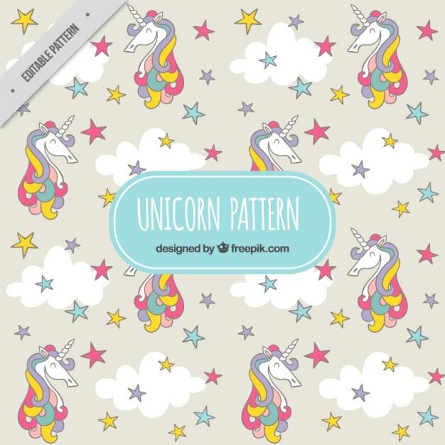 Patrón de unicornio de colores con estrellas   Descargar Vectores gratis