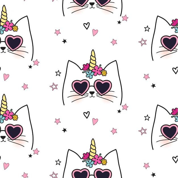 Patrón de unicornio gato inconsútil | Descargar Vectores Premium