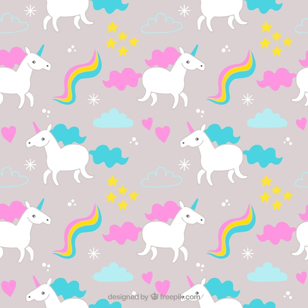 Patrón de unicornios de colores con elementos   Descargar Vectores ...