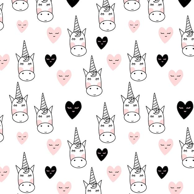 Patrón de unicornios con corazones | Descargar Vectores gratis