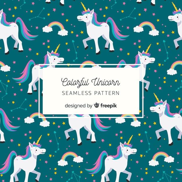 Patrón unicornios dibujados a mano vector gratuito