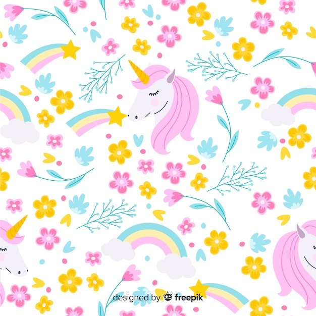 Patrón unicornios plano vector gratuito