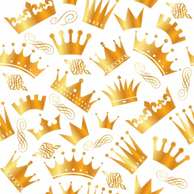Patrón de variedad de coronas doradas vector gratuito