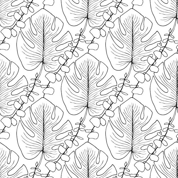 Patrón de vector de hojas tropicales. patrón transparente de vector ...