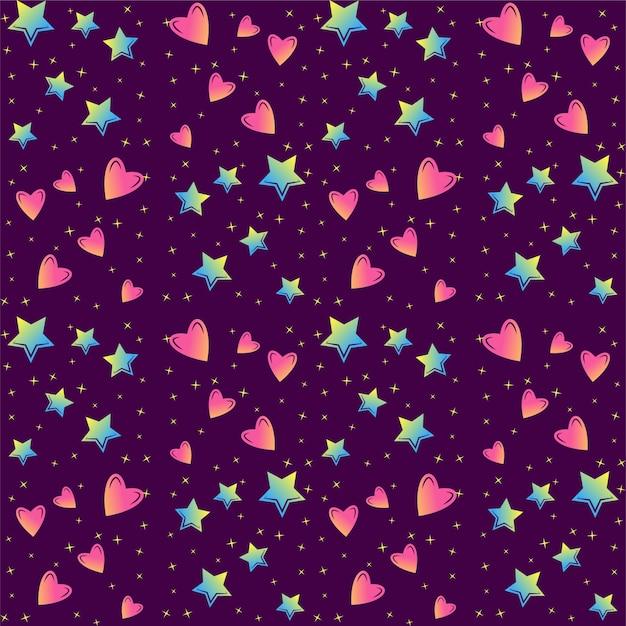 Patrón De Vector Transparente De Estrellas Y Corazones Coloridos