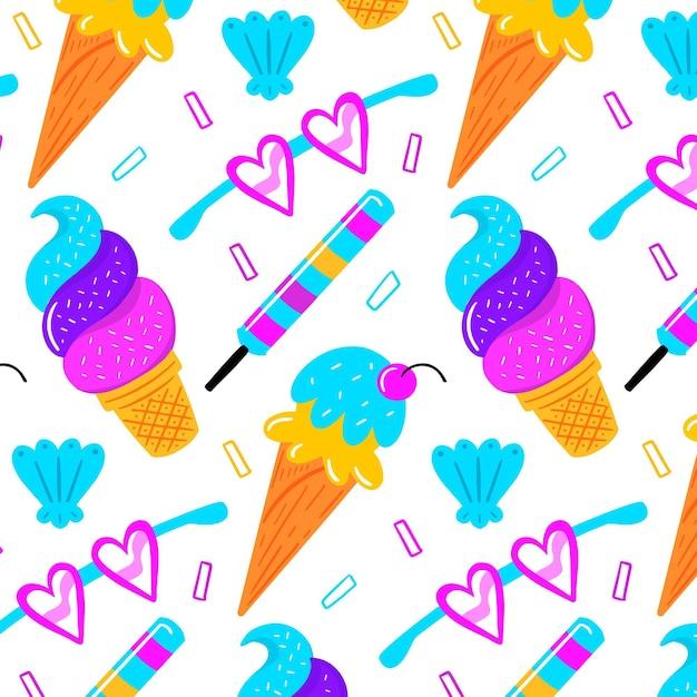 Patrón de verano colorido vector gratuito