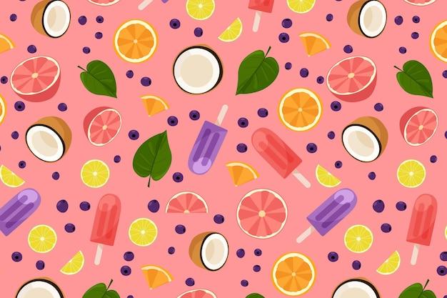 Patrón de verano con frutas y helado vector gratuito