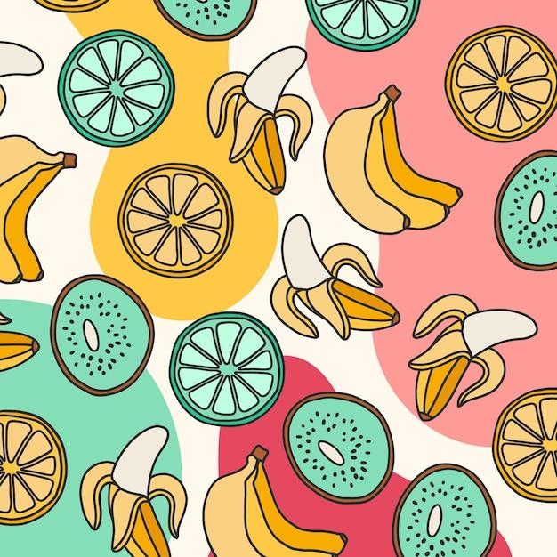 Patrón de verano con frutas vector gratuito