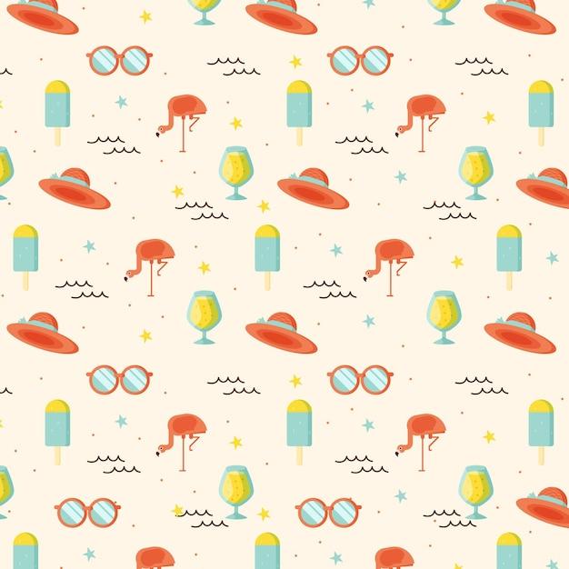 Patrón de verano con gafas de sol y sombreros. vector gratuito