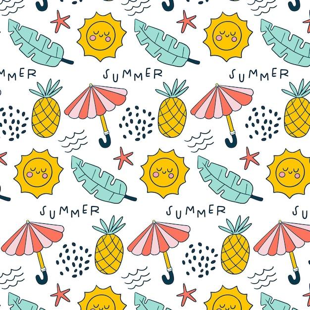 Patrón de verano con piñas y sombrillas. Vector Premium