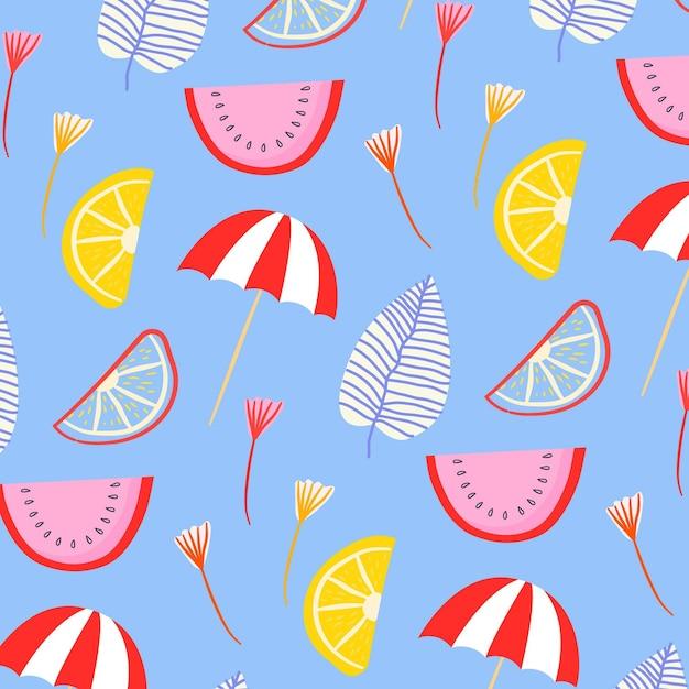 Patrón de verano con sandía y sombrillas. vector gratuito