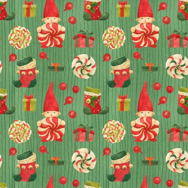 Patrón verde de fábrica de elfos navideños con medias y piruletas Vector Premium