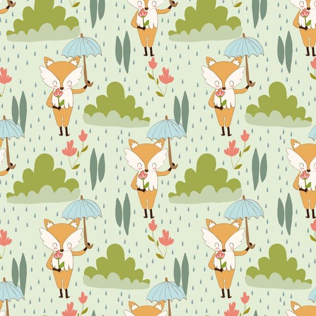 Patrón de zorro y flor en la lluvia. Vector Premium