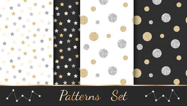 Patrones abstractos con elementos brillantes: círculos, estrellas, líneas. Vector Premium