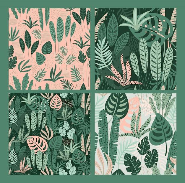 Patrones abstractos sin fisuras con hojas tropicales. Vector Premium