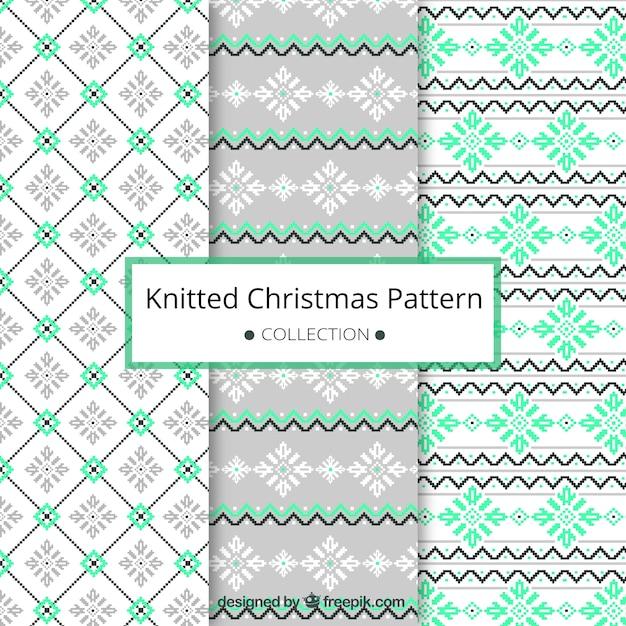 Patrones abstractos navideños hechos a punto   Descargar Vectores gratis