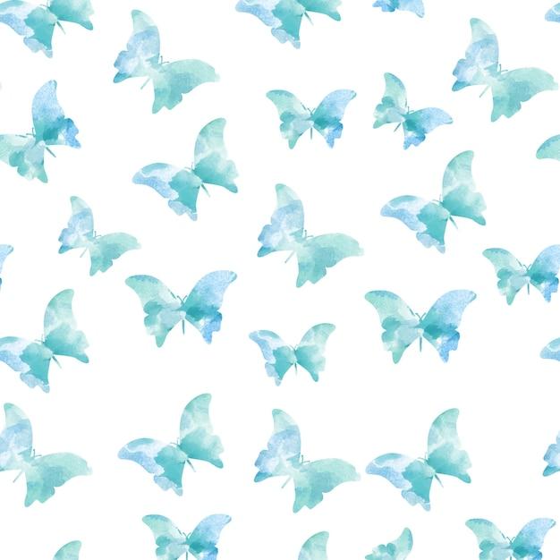 Patrones azules sin costuras de mariposas de acuarela | Descargar ...